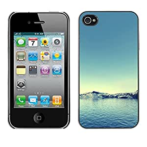 rígido protector delgado Shell Prima Delgada Casa Carcasa Funda Case Bandera Cover Armor para Apple Iphone 4 / 4S /Arctic Snow Winter Teal Blue Water/ STRONG
