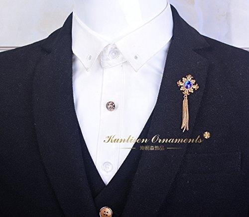 Korean men's suit fringed cross brooch pin brooch crystal collar shirt short Blood ()