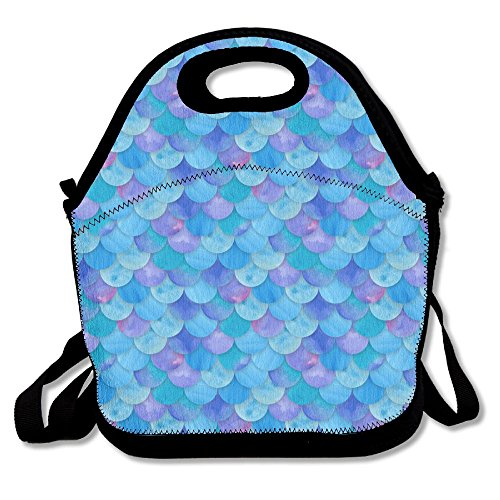 HYEECR Blue Mermaid Scales Portable Lunch Tote Bags, Takeaway Lunch Box, Outdoor Travel Fashionable Handbag For Men Women Kids (Deadshot Mask For Sale)