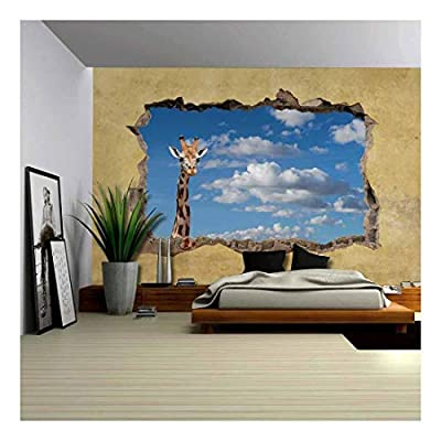 Giraffe Viewed Through a Broken Wall Large Wall Mural Removable Peel and Stick Wallpaper, Made With Top Quality, Gorgeous Piece