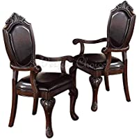 2 pc formal dining arm chair decor foot upholstery faux leather seat espresso - Arm Chairs