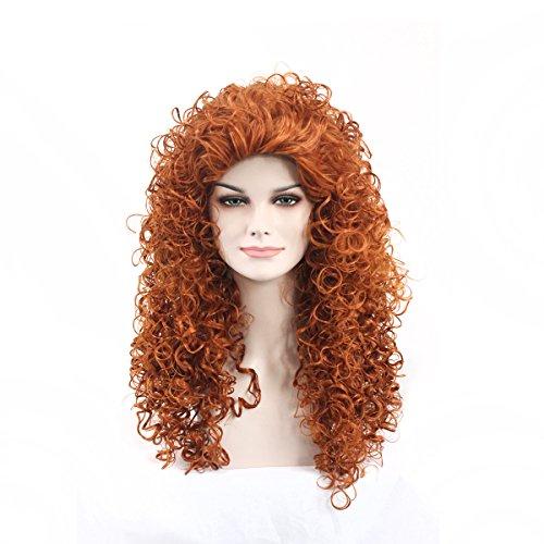 Women's Fashion Long Curly Orange Halloween Costume Wig -