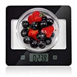 CUSIBOX Kitchen Scales 11Ib/5kg Glass Food Scales, Digital Kitchen Scales with LCD Backlit Tare Function, Electric Weighing Scales Measuring in g, oz, lbs, ml, Batteries Included