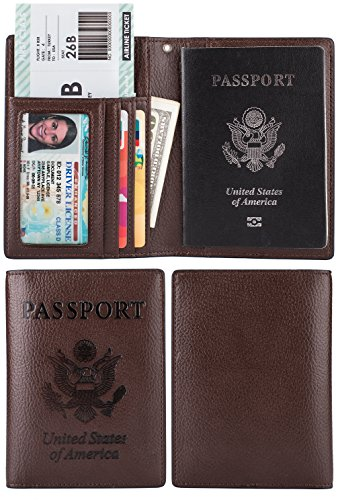 Passport Wallet Holder Cover Case Id Window Travel Wallet With Rfid Blocking   Coffee