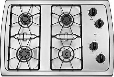 "Whirlpool W3CG3014XS 30"" Stainless Steel Gas Sealed Burner Cooktop"