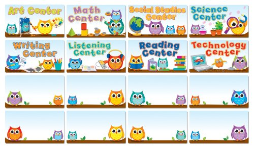 Colorful Owls Center Signs Bulletin Board ()