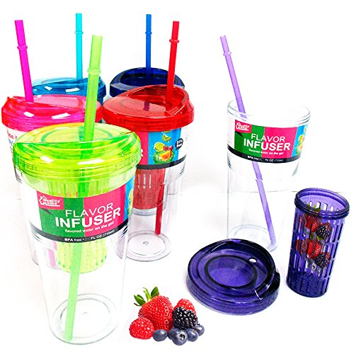 Fruit Infusing Flavor Infuser Water Tumbler 16oz Straw Cup Natural Fruit BPA (16 Ounce Fruit Flavors)