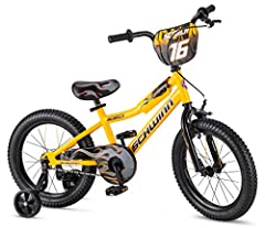 """A great choice for teaching your youngster how to ride a bike, the 16"""" Scorch sidewalk bike from Schwinn features a grown-up look that's great for showing off around the neighborhood. It's outfitted with an enclosed chain guard to help preven..."""