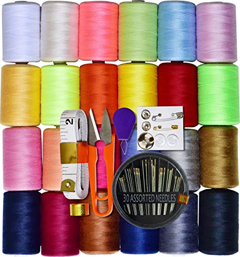 Sewing kit 24 Assorted Color 100% Polyester All Purpose Sewing Thread 1000m Each Spool with 30pcs Sewing Needles,Soft Measuring Tapes, Scissor,Thimble, Threader&Buttons for Hand and Machine Sewing