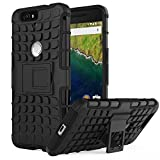 Nexus 6P Case - MoKo Heavy Duty Rugged Dual Layer Armor with Kickstand Protective Cover for Google Nexus 6P by Huawei 5.7 Inch Smartphone 2015 Release, BLACK (Not Fit Nexus 6 2014 Version)