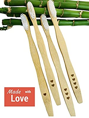 Love My Teeth Bamboo Toothbrushes (Family 4-Pack) Ergonomic, Angled Bristles | Gentle on Teeth & Gums | Fights Plaque Buildup, Gingivitis | Promotes Oral Health