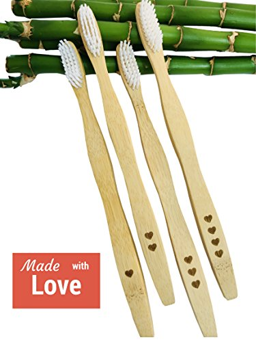 Image result for Love My Teeth Bamboo Toothbrushes (Family 4-Pack) Ergonomic, Angled Bristles | Gentle on Teeth & Gums | Fights Plaque Buildup, Gingivitis | Promotes Oral Health