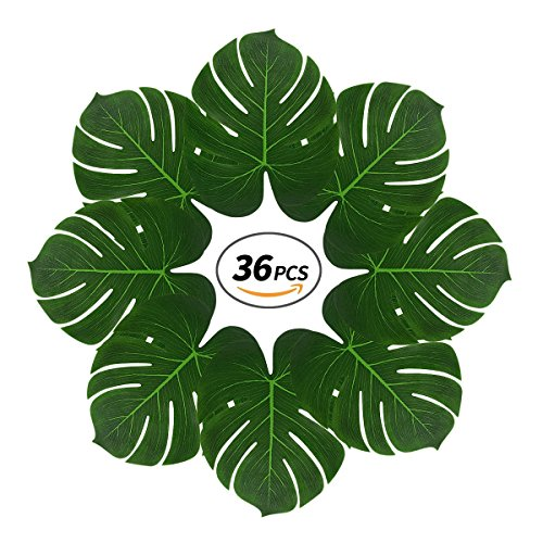 Tropical Palm Leaves with 2 Sticks,36 Pcs 13'' Reusable Large Fake Leaves for Luau Party,Jungle Themed Party,Havana Nights,Baby Shower Decor by Yaoyuan