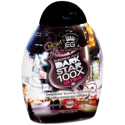 European Gold Dark Star 100x Ultra Indoor Tanning Lotion, 8.5 fl oz (Best Tanning Booth Lotion)