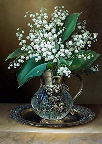 YINYINEE 5D Diamond Painting Kits for Adults Full Drill Lily of The Valley Floral in Vase Embroidery Rhinestone Painting