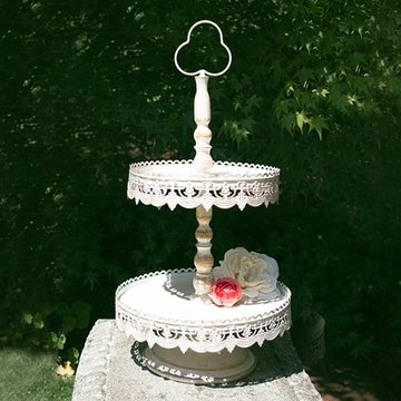 Christmas Tablescape Decor - White metal 2-tier decorative vintage style cake and dessert stand