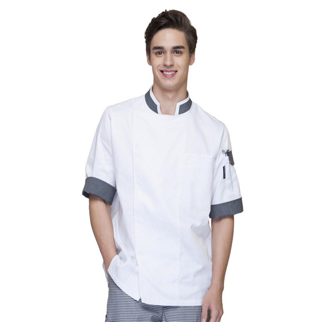 Cheflife Men's White Unisex Chef Uniforms Short Sleeve Chef Coat US:M/Tag:XL