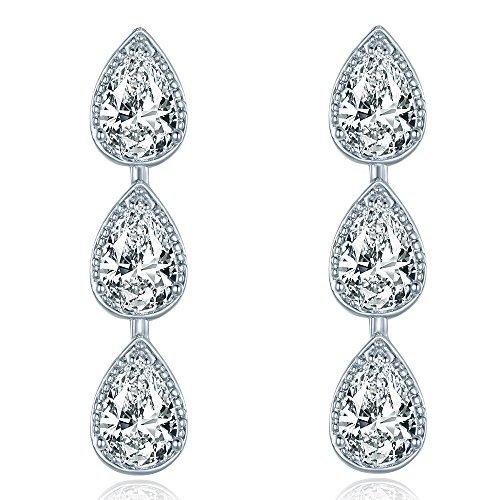 (MASOP Women's Silver-tone Clear CZ Cubic Zirconia Bridesmaid Pear Shape Teardrop Dangle Earrings)