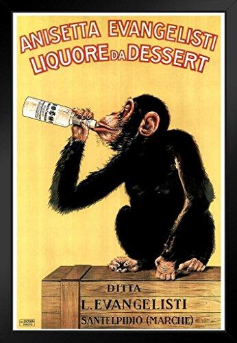Anisetta Evangelisti Liquore Da Dessert Vintage 1925 Italian Advertising Chimpanzee Framed Poster 14x20 inch
