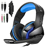PHOINIKAS H-3 Computer Gaming Headset Surround Sound, Noise-Canceling, Microphone and Soft Earmuffs, Volume/Mic