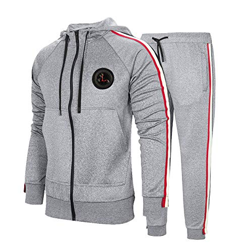 MANTORS Men's Hooded Athletic Tracksuit Full Zip Casual Jogging Gym Sweat Suits Gray XL