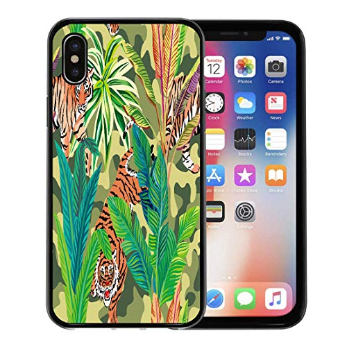 Semtomn Phone Case for Apple iPhone Xs case,Composition of The Wild Predatory Animals Tiger in Tropical Jungle Pattern Military Khaki for iPhone X Case,Rubber Border Protective Case,Black