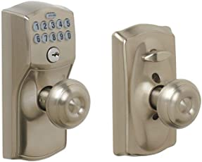 door handles and knobs. schlage fe595 cam 619 geo camelot keypad entry with flex-lock and georgian style knobs door handles