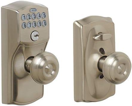 Keypad Electronic Door Lever Accent Bright Brass Home Security Keyless Flexlock