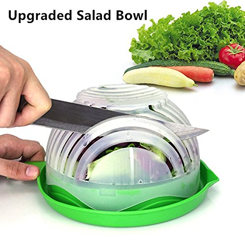 Innovation Mall Salad Cutter Bowl, 60 Second Salad Maker Fast Fruit Vegetable Cutter Bowl, Family-Sized Durable Salad Slicer Salad Chopper Strainer Cutting Board All in One for Kitchen
