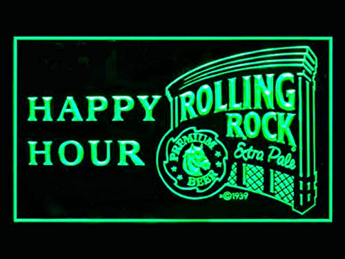 Rolling Rock Beer Happy Hour Drink Led Light Sign