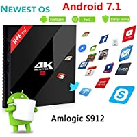 Hindotech Android 7.1.1 H96 Pro Plus TV Box Amlogic S912 Octa Core Smart Set Top Box 3GB RAM 32GB ROM Dual Band WIFI 2.4G/5G Supports (3D, 4K, 1000M LAN)