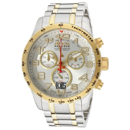 Invicta Reserve Men's Military Swiss Made Quartz Chronograph Stainless Steel Bracelet Watch (Watches Invicta Military)
