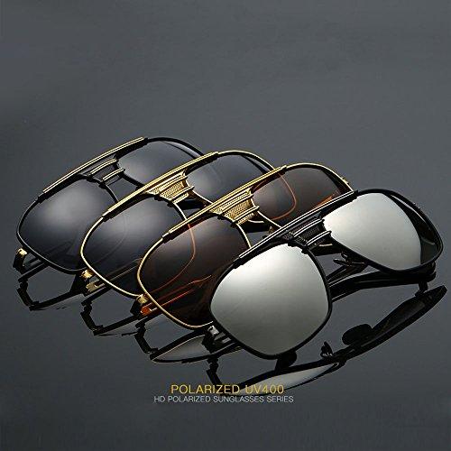 sol Plaza de Piloto Gafasde Hombres negro Retro plata Metal Marrón de Plateado La Polarizados los Gran de XqtwHxnIvd