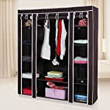 "SONGMICS 59"" Portable Clothes Closet Wardrobe Storage Organizer with Non-woven Fabric, Quick and Easy to Assemble, Extra Strong and Durable, Brown ULSF03K"
