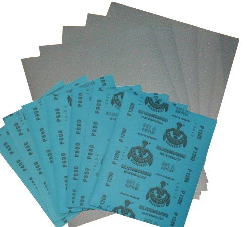 1 Set Wasserschleifpapier 12 Blatt - Je 2 Blatt 800 1000 1200 1500 2000 3000 Nassschleifpapier Fein