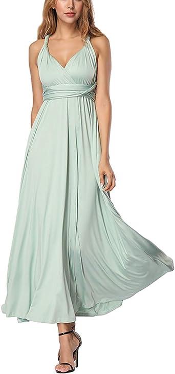 TALLA M(ES 40-44). FeelinGirl Mujer Vestido Maxi Convertible Espalda Decubierta Cóctel Multiposicion Tirantes Multi-Manera Largo Falda para Fiesta Ceremonia Sexy y Elegante Verde M(ES 40-44)