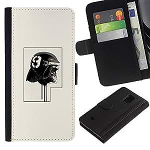 YiPhone /// Tirón de la caja Cartera de cuero con ranuras para tarjetas - Policía del gorila - Samsung Galaxy S5 Mini, SM-G800