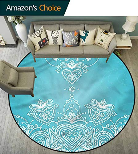 RUGSMAT Pale Blue Modern Washable Round Bath Mat,Doves Hearts and Flowers Circle Rugs for Living Room Diameter-47