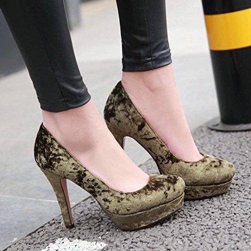 AIYOUMEI Chaussure Plateforme Femme Sexy Escarpins Velours Talons Aiguilles Élégant Vert Gx97k
