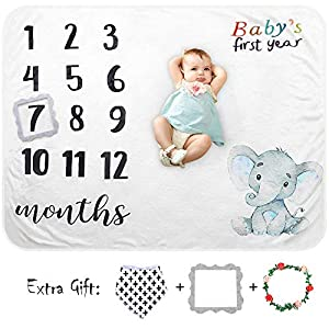 Baby Monthly Milestone Blanket Girl Boy Organic Plush Fleece Large Personalized Memory Photo Blanket for Baby Pictures Newborn Photography Shower Gifts, Includes Floral Wreath/Bib/Picture Frame