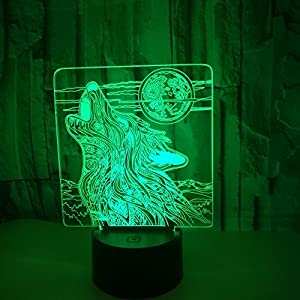 Wolf Head Lamp 3D Optical Illusions Night Light 7 Color Change USB Cable Smart Touch LED Desk Table Lamp for Kids Christmas Gift