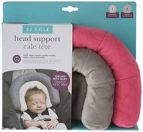 JJ Cole - Head Support, Newborn Head and Neck Support for Car Seat and Stroller, Designed to Adjust with Age, Bright Pink Sassy Wave, Birth and Up