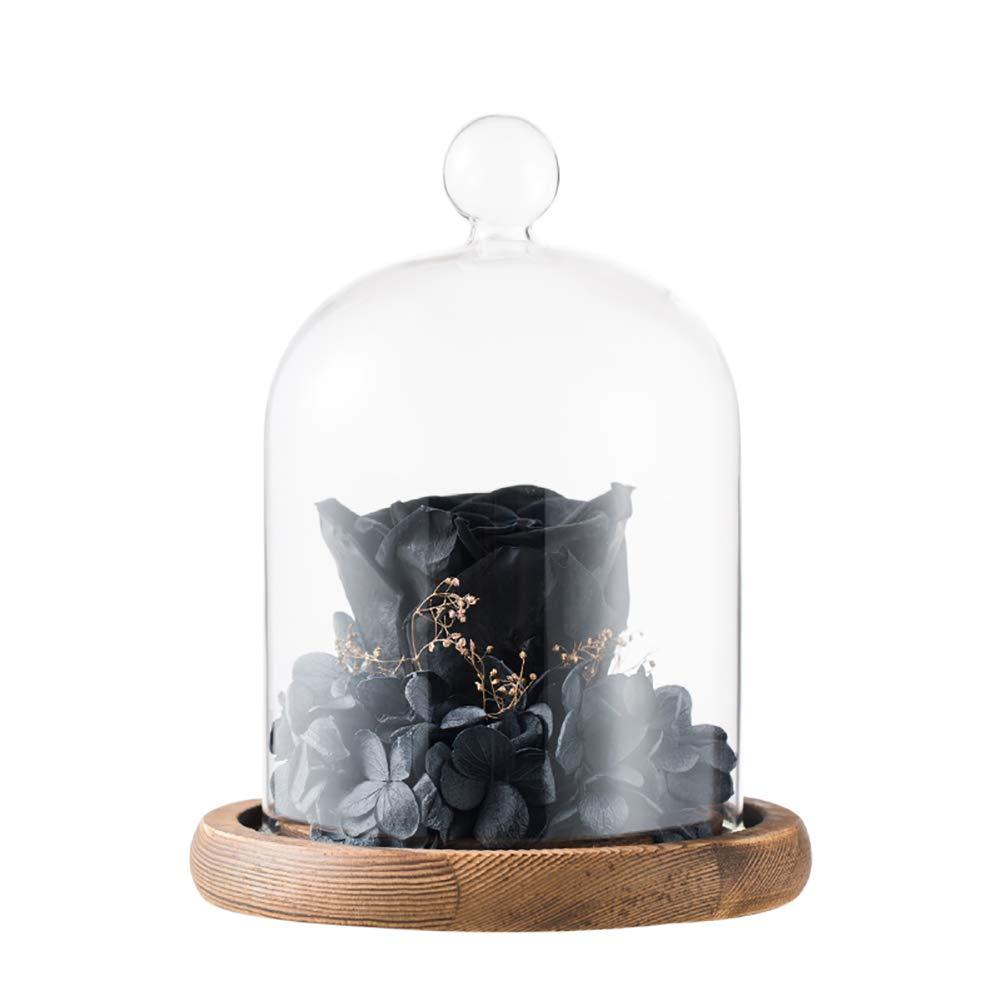 GQQ rosa Nera Fiore Eterno,Costellazione Personalizza San Valentino Natale Romantico Regalo,Glasscover