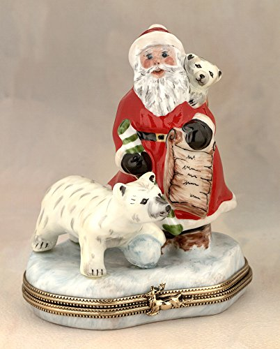 Authentic French Hand Painted Limoges Porcelain Santa with Polar Bear Box