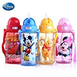 Emoji Stuff for Sale LINAE Water Bottles - Disney 400ML Plastic Water Bottle Leakproof Mickey Straw Bottle for Water with Rope Protable Hiking Tumbler Cute Bottles for Kid 1 PCs