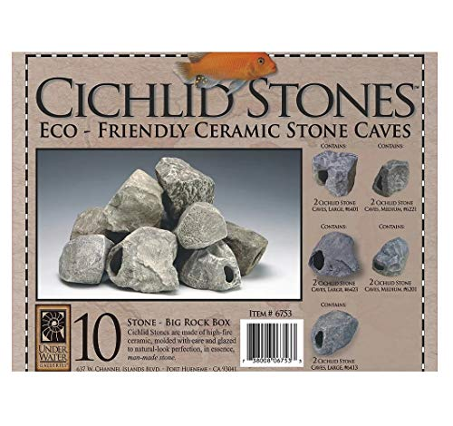 Underwater Galleries Big Rock Box, 10 Large Ceramic Cichlid Stones, Assorted Styles (Underwater Galleries Cichlid Stone)
