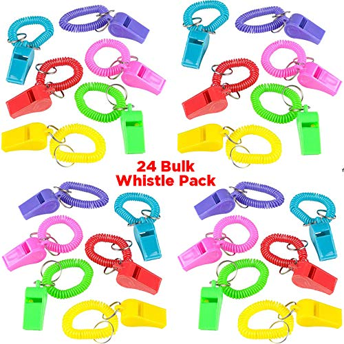 24 Whistles for Kids | Colorful Spiral Bracelets with Keychain and Whistle | Noisemakers for Boys and Girls | Bulk Party Favors and Toys, Coach and Referee Whistles, Sport Themed Birthday Parties ()