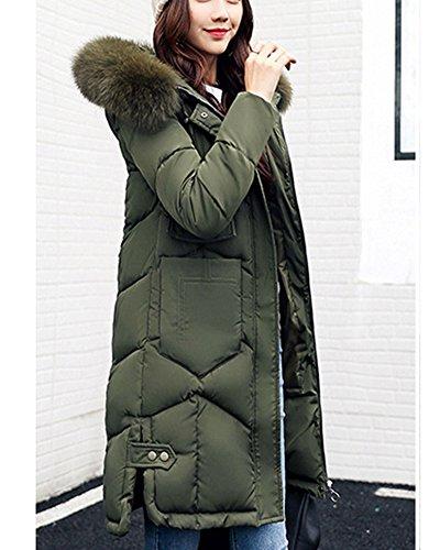 Lungo Cotone Cappotto Abbigliamento Alto Con Verde Collo Da Gi�� Donna Cappuccio Feel RRn4z1qa