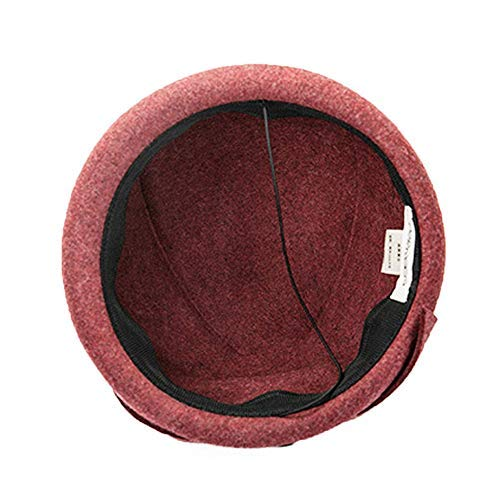 FADVES Elegant Bow French Wool Berets Vintage Women Solid Color Warm Beanie Cap Wine Red