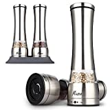 Miusco Salt and Pepper Grinder with Silicone Mat, Adjustable Ceramic Setting, Set of 2, Large Size